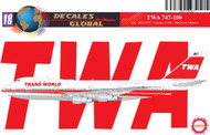 1/144 Scale Decal TWA 747-100