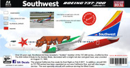1/144 Scale Decal Southwest 737-700 California One 2017