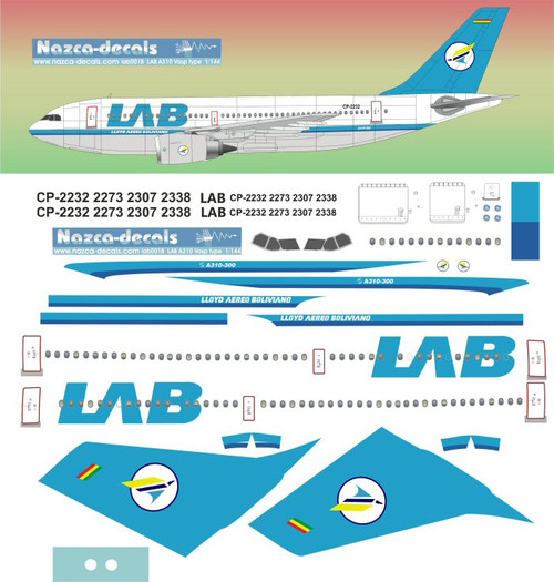 1/144 Scale Decal LLoyd Aereo Boliviano A-310 VASP