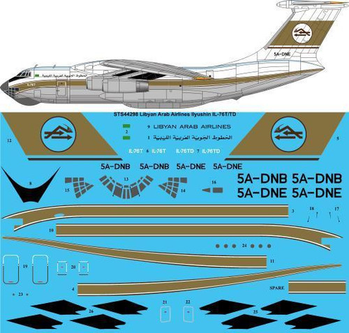 1/144 Scale Decal Libyan Arab Airlines IL-76T/TD