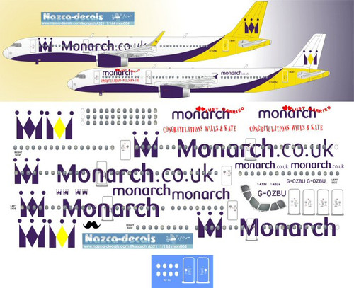 1/144 Scale Decal Monarch A-321