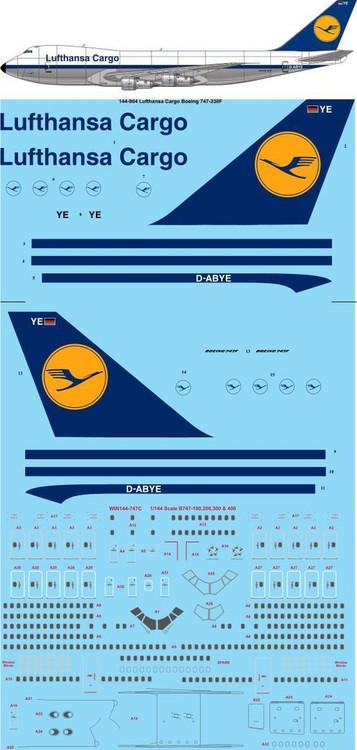 1/144 Scale Decal Lufthansa Cargo 747-230F