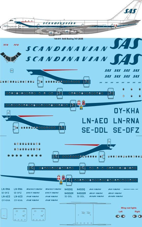 1/144 Scale Decal SAS 747-200 Delivery