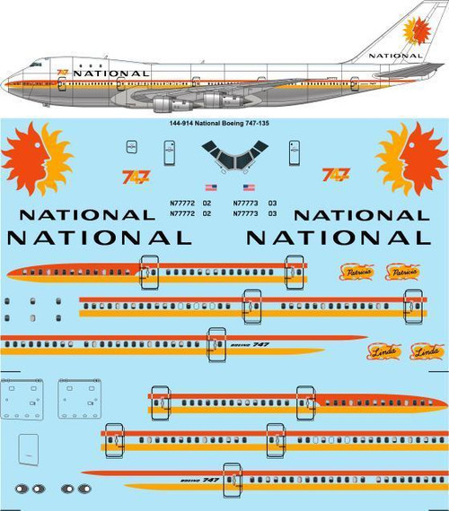 1/144 Scale Decal National 747-100