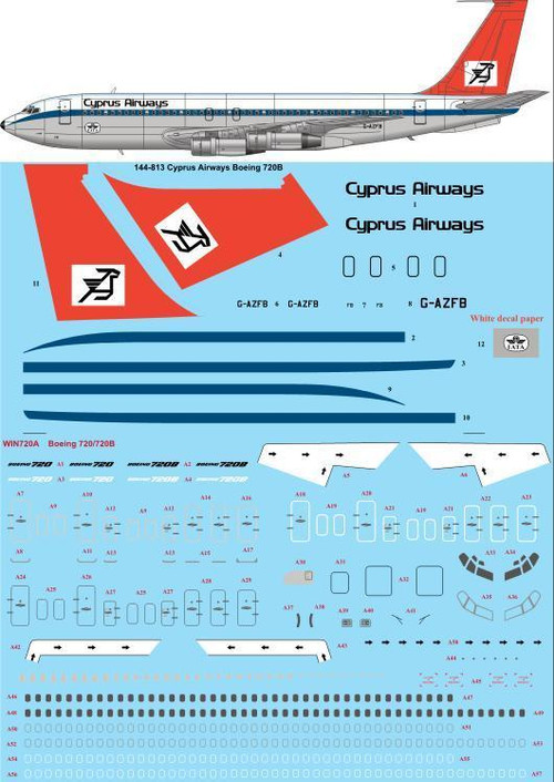 1/144 Scale Decal Cypress Airways 720B
