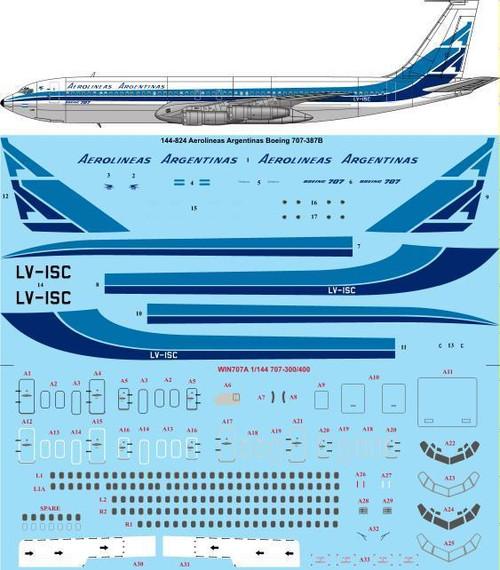 1/144 Scale Decal Aerolineas Argentinas 707-300