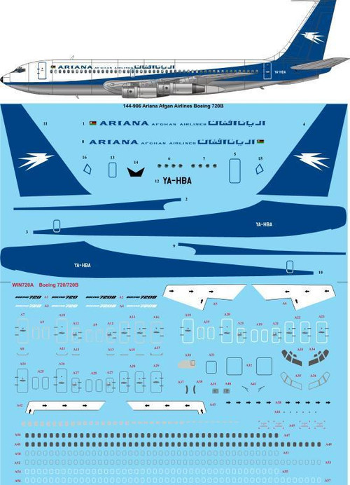 1/144 Scale Decal Ariana Afghan Airlines 720B