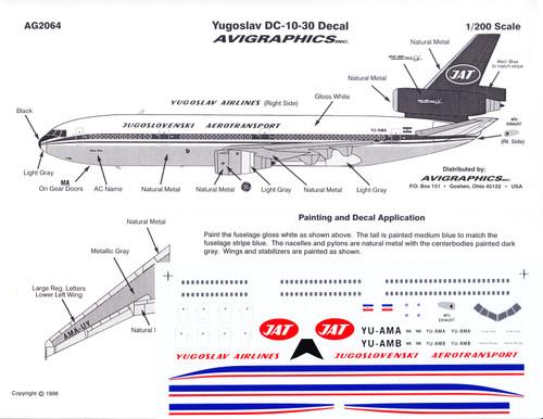 1/200 Scale Decal JAT Yugoslav DC10-30