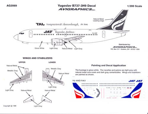 1/200 Scale Decal JAT Yugoslav 737-3H9