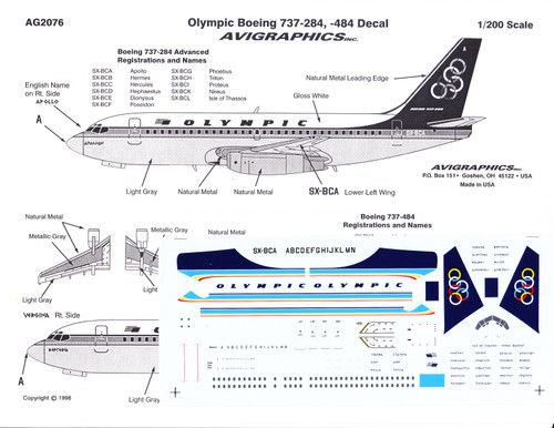 1/200 Scale Decal Olympic 737-200 / 400