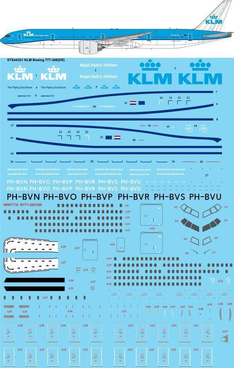 1/144 Scale Decal KLM 777-300