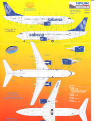 1/144 Scale Decal Sabena 737-200 / 300 / 400 / 500