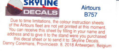 1/144 Scale Decal Airtours / Spanair 757-200