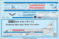1/144 Scale Decal Piedmont 737-400 Bare Metal Blue
