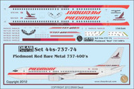 1/144 Scale Decal Piedmont 737-400 Bare Metal Red