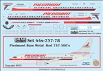 1/144 Scale Decal Piedmont 737-300 Bare Metal Red