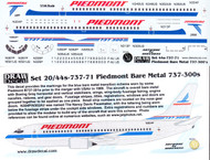 1/144 Scale Decal Piedmont 737-300 Bare Metal Blue