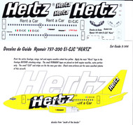 1/144 Scale Decal Ryanair 737-200 HERTZ