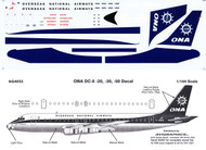 1/144 Scale Decal ONA DC8-20 / 30 / 50