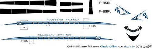 1/144 Scale Decal Rousseau Aviation HS-748