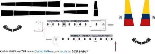 1/144 Scale Decal Ecuadorian Air Force HS-748