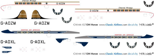 1/144 Scale Decal Morton Air Service / Channel Airways Heron