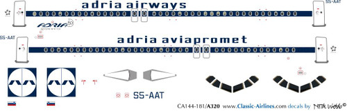 1/144 Scale Decal Adria Airways A-320 Retro