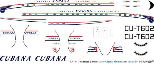 1/144 Scale Decal Cubana Super Constellation