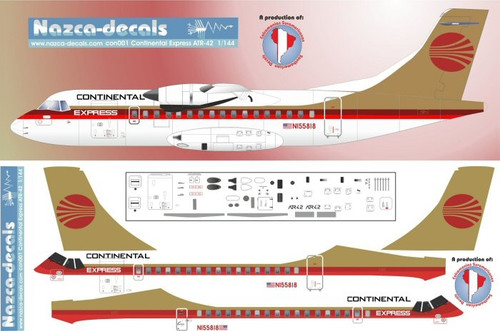 1/144 Scale Decal Continental Express ATR-42 Red/Gold