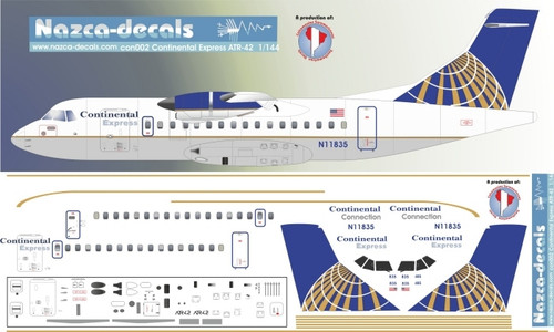 1/144 Scale Decal Continental Express ATR-42