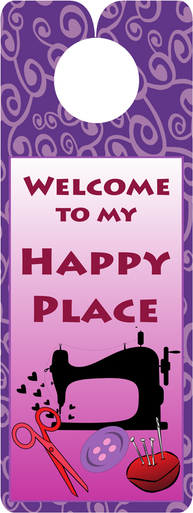 FQG305 Knobie Talk Door Hanger-Happy Place