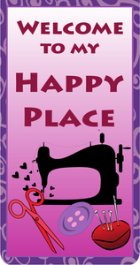 "Happy Place 30"" x 40"" banner. Made of quality vinyl for indoor use. Adhesive hangers included."