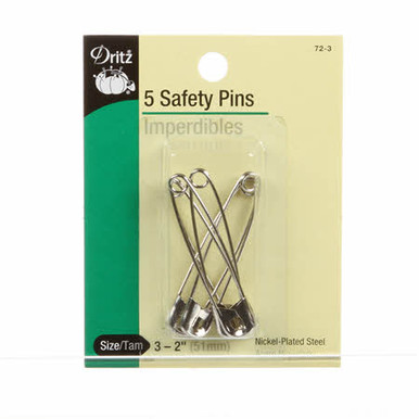 """Size 3 - 2"""" Safety Pins.  Qty = 5."""