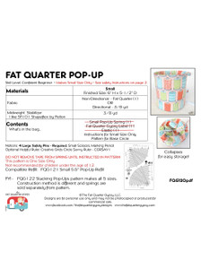 FQG120pdf Fat Quarter Pop Up Pattern - NO HARDWARE!!   Instructions Only!!