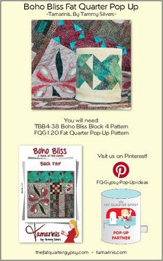 Boho Bliss Fat Quarter Pop Up Info Sheet