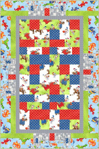 Image is version in the kit  FQG117 Wee Castles Baby Quilt Kit Exception - Gray inner border is slightly different fabric Backing - Flying Dragons