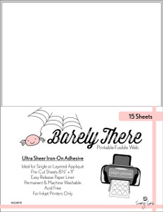 Barely There Printable Fusible Web - 15 Sheets