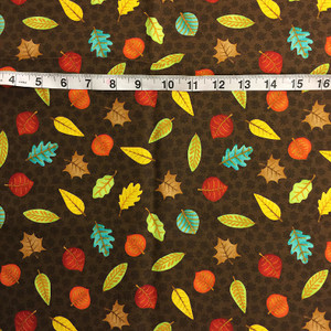 1 yd of Fall Fun by Wilmington Print - Brown Leaves