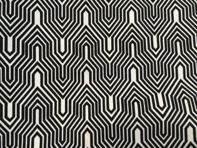 1-1/2 yard cut of black and white geometric, Deco Ritz of Camelot Fabrics