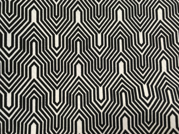 1-1/2 yard cut of black and white geometric, Deco Ritz of Camelot Fabrics