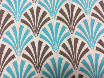 1 yard cut of turquoise and gray fans, Deco Ritz by Camelot Fabrics