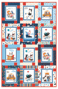 Block Talk made from Feline Friends by Michael Miller Fabrics.