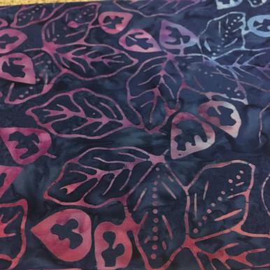 1 yard of Medium Blue with Pink Flowers Batik