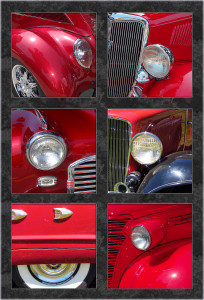 VINTAGE RED CAR CLOSEUPS QUILT PANEL