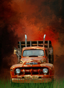 BIG HAULER VINTAGE WORK TRUCK QUILT PANEL