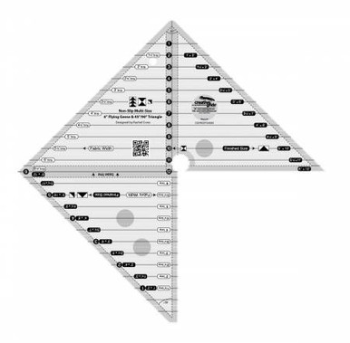 Creative Grids 6in Flying Geese & 45 90 Degree Triangle Quilt Ruler # CGRMSFG4590