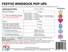 FQG144 Festive Windsock Pop Ups Pattern Back