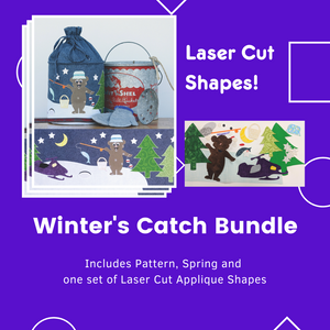 Winter's Catch Bundle Includes Pattern, one Spring and one set of laser cut applique shapes. Does not include fabric for Body of pop up or stabilizer.