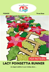 FQG402pdf Lacy Poinsettia Runner - Printable PDF
