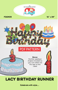 FQG405pdf Lacy Birthday Runner - Printable PDF